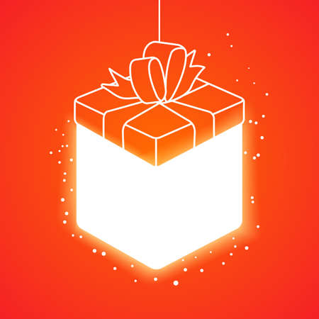 lighting background: Lighting linear gift box at orange background. Holidays background.