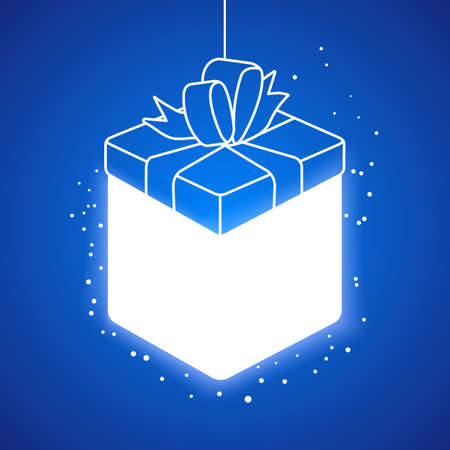 lighting background: Lighting linear gift box at blue background.  Illustration