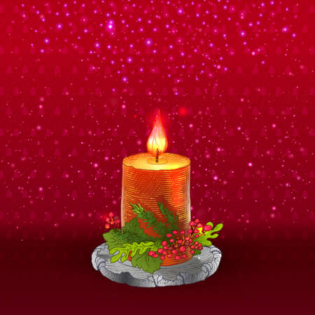 lit: Red holidays background with lit candle. Illustration