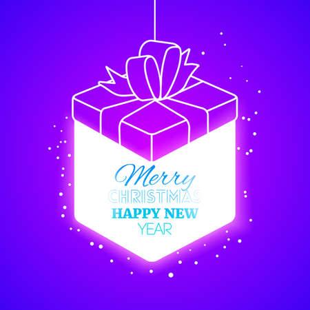 christmas gift box: Lighting christmas gift box at purple background.