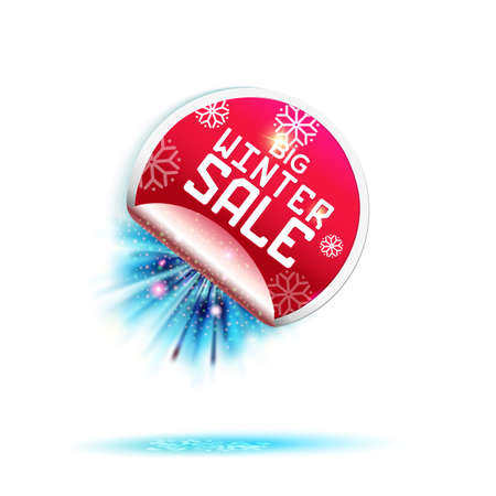 tehnology: Red Winter Holidays Sale sticker with blue rays.