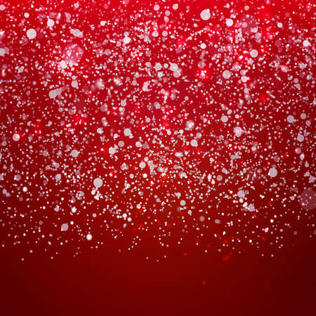 merry mood: Cute falling Snow on the Holidays red Background.
