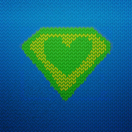 art product: Knitted superman illustrated icon with Green heart shape.