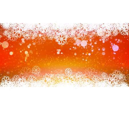 snowing: Red colors Holidays background with snowflakes and lights. Winter vector illustration. Snowing banner.