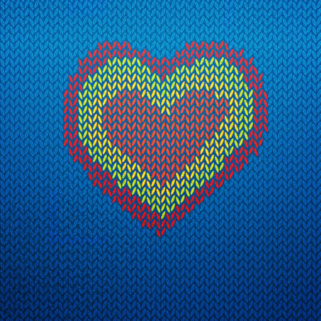 knitted: Knitted vector illustrated icon with heart shape.