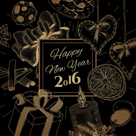 classic new year golden card with linear sketch illustrations new year banner with a lot