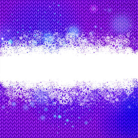 Purple knitted background with snow cloud for text. Winter holidays and special business offers banner design. Hand made wool knitted background. Textured textile season template. Ilustrace