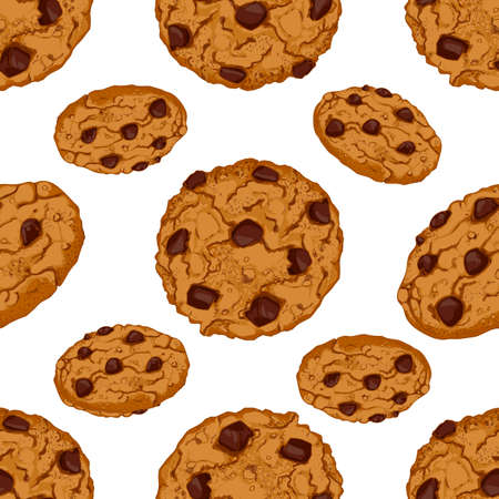 chocolate chip: Seamless pattern with chocolate chip cookies. Vector sweet food illustration for kitchen and cafe decor. Artistic drawing pastry banner. Illustration