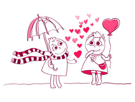 girlfriend:  illustration of Two Cute characters couple for Valentines card. Cute romantic card with hearts, boy and girlfriend. Valentines card with funny cartoons. Illustration