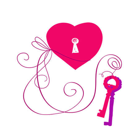 flirtation: key to heart illustration. Free heart concept for Valentines and Romance card design. Illustration