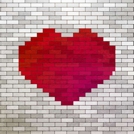 urban youth: Red Heart painted at white bricks wall. Love symbol at white wall. Romance vector illustration. Urban and youth styled art. Modern heart background.