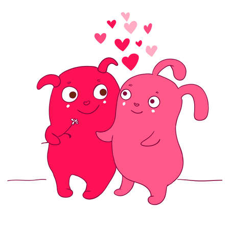 ufo: Vector illustration of Two ufo Cute characters with hearts couple for Happy Valentines Day greeting card. Cute romantic card with hearts, boy and girlfriend. Valentines card with funny cartoons.