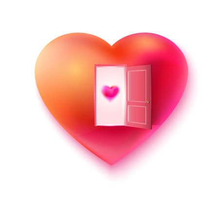 hart met open deur en klein hartje aan de deur. Liefde uitnodiging concept. Gelukkig Valentijnsdag kaart illustratie. Wachten liefde concept. Romantiek uit te nodigen. Vrije liefde. Hart openen voor de liefde.