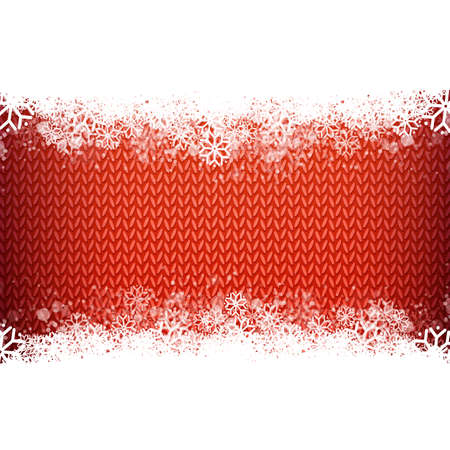 narrow: Red knitted narrow band background with snowflakes. Winter holidays and special business offers design.wool knitted background. Textured textile season template.