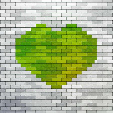 Corazón verde pintado en la pared de ladrillo blanco. Símbolo del amor La naturaleza verde en la pared blanca. Eco Ejemplo respetuoso y médico. art estilo urbano y los jóvenes. Fondo del corazón moderno. Foto de archivo - 51522004