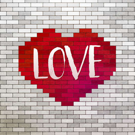 urban youth: Red Heart and painted Love lettering  at white bricks wall. Love symbol at white wall. Romance illustration. Urban and youth styled art. Modern heart background with drawn text.