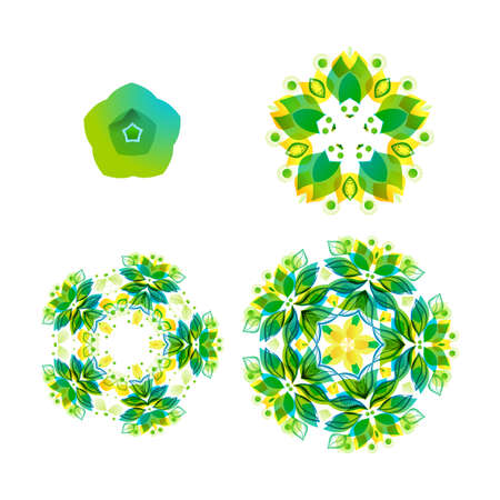 indian summer: Vector Indian floral mandala with green geometric shapes . Mandala set from small to big. Development idea illustration. Ethnic stylized spring and summer label backgrounds. Illustration