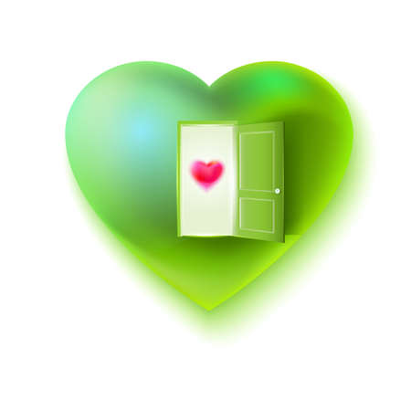 green heart: Vector green heart with open door and small heart at the door. Illustration
