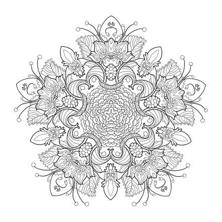serviette: Vector decorative linear Mandala illustration. Hand drawing Patterned Design. A lot of elements for coloring and relax. Ethnic Amulet.  Flower ornament for coloring , rest and meditation. Illustration