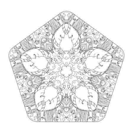 Vector Ilustración Decorativa Mandala Lineal. Dibujo A Mano Diseño ...