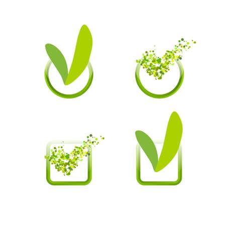 green check mark: Green check mark set. Leaves and air particles check design. Illustration