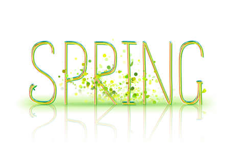 single word: Spring hand lettering pen style single word. Illustration