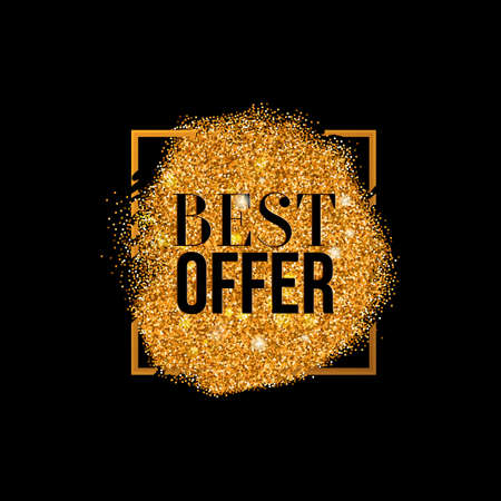 diffusion: Vector Best Offer gold textured label, luxury glitter background with golden texture and business offer. Glitter with diffusion in square frame.