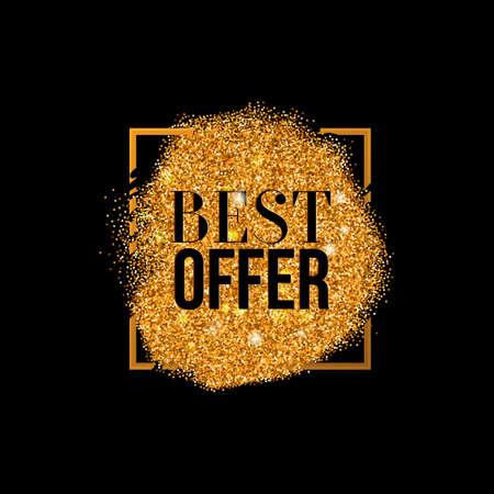 Vector Best Offer Gold Label con texture, sfondo di lusso glitter con tessuto d'oro e offerta commerciale. Glitter con diffusione in cornice quadrata.