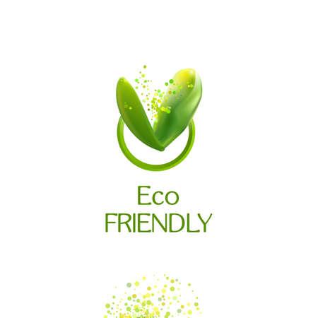 V 文字。現実的な緑葉エコ フレンドリーです
