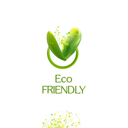 ECO: V letter. Realistic Green leaves Eco friendly