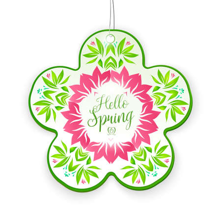 leafage: Floral Hello Spring tag. Vector design season nature elements for banner, label, website and window decor. Illustration
