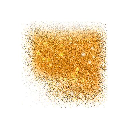 Vector abstract squared form with gold texture, glitter background with golden texture. Glitter with diffusion Illustration