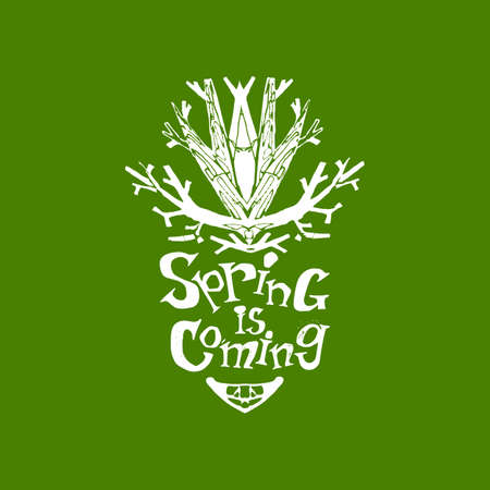 market share: Spring is coming logo with hand drawn doodle tree emblem. Season tag modern style illystration. Fun vector concept. Lettering for spring holidays and business advertising. Hand drawn typograthy emblem for for market share