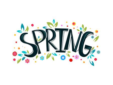 Spring lettering design logo. Vettoriali