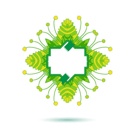 bage: Green colors summer banner. Spring floral frame design for shopping promo. Modern linear drawn tag. Artistic label for presentation.