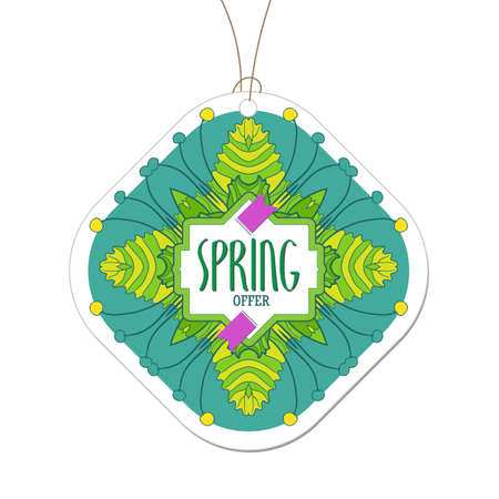 bage: Fresh colors spring offer tag. Spring floral frame design for shopping business promo. Modern linear hand drawn banner. Fashion label for new collection presentation. Bright colorfull illustration Illustration