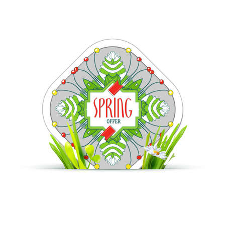 bage: Spring offer tag label with realistic green grass and chamomile. Spring floral banner design for shopping business promo. Modern  spring label for new collection presentation. Trand style illustration