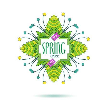 fresh colors: Fresh colors new spring offer banner. Spring floral frame design for shopping business promo. Modern linear tag. Fashion label for new collection presentation. Bright colorfull illustration Illustration