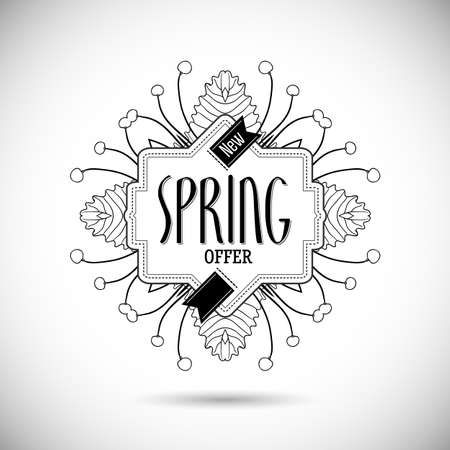 bage: Abstract new spring offer banner. Spring floral frame design for shopping business promo. Modern linear style background. Linear fashion label for new collection presentation. Black line illustration