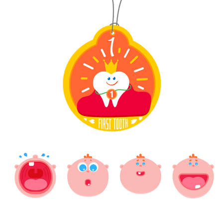 Baby First tooth Vector Illustration with kids expression set.  Crying and laughing baby with first tooth. Children Tooth greetings card. Flat icons for teeth medicine and healthy lifestyle. Çizim