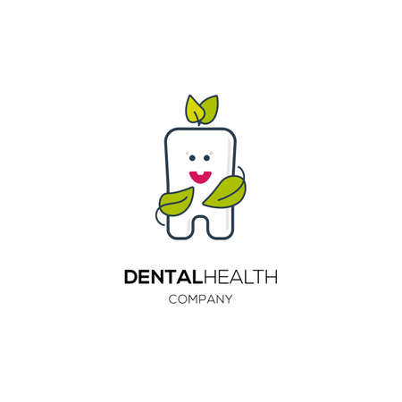 whitening: Dental herbal flat style icon. Linear drawn cute tooth  with leaves for dental clinic identity. Smiling tooth logo. Healthy dental whitening linear illustration. Young milk tooth emblem.