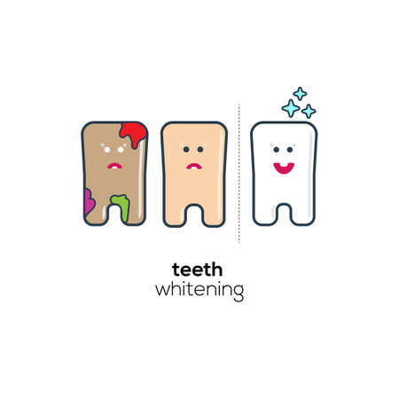 whitening: Teeth whitening cute flat icons.