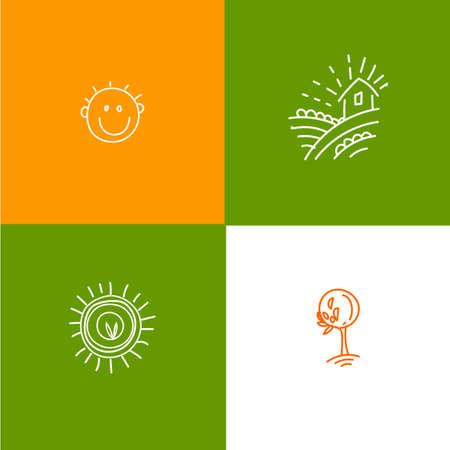 home grown: Sketch farm, smile, locally grown, tree, floral hand drawn icon set. Farming icons. Natural food graphic Icon.  Ecology and vegetarian product lael elements. Doodle eco friendly elements.