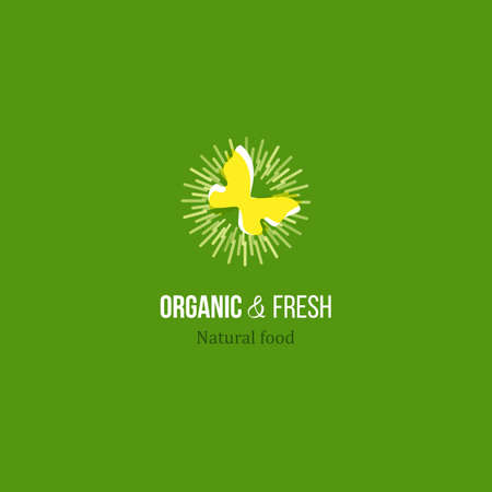fresh produce: Butterfly an sun rayes vector Icon for natural organic and fresh food from farm. Ray center with bio symbol. Healthy product label design. Farm growth eco friendly food. Fresh produce  food Icon