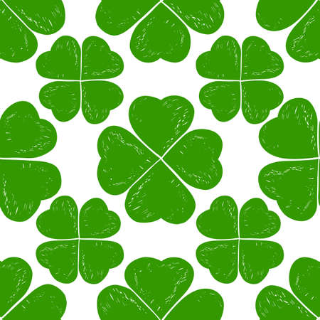 patric banner: St. Patricks day seamless background. Hand drawn sketch clover seamless background. Saint Patrick holiday vector illustration. Clover seamles grunge decor.