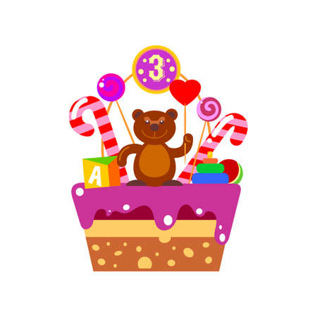 third birthday: Birthday cake with bear sweet figure and baby toys. Smile Birthday Bear with heart and candles for kids gift. Decorative bear on birthday cake with the number three. Cake on the third day of the child Illustration