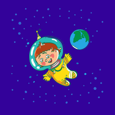 cartoon earth: Space child cartoon astronaut, vector character illustration. Baby spaceman in space far away from Eath. Boys dreamy. Space dreamland. Boy space suit. Smile kid astronaut.