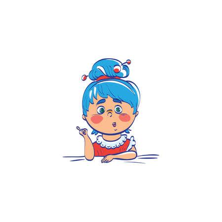 cartoon school girl: Cute cartoon girl teacher. Illustration of a teacher. Young girl education concept. Vector cute character. Studying little girl at school lesson.