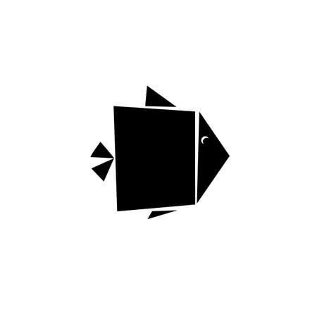 seafish: Abstract Fish minimalistic Icon design. Flat black at white vector icon. Modern flat fish Icon. Geometric concept for seafish identity. Fish food mark concept. Fish Icon symbol.