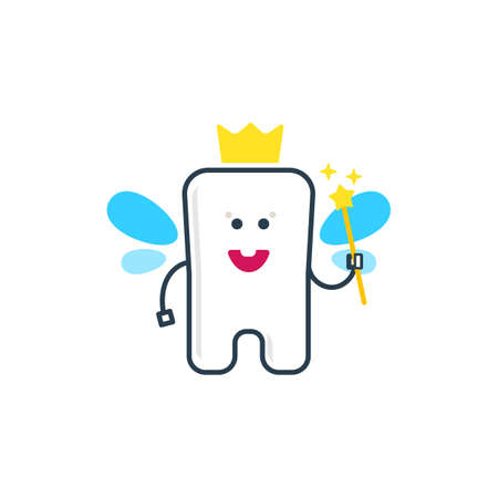 crown wings: A cute tooth fairy character. Flat vector illustration. Dental health Icon. Kids teeth whitening. Baby dentist Icon. Tooth fairy with wings, crown and magic wand. Clear smile tooth.